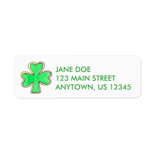 Green Irish Shamrock Clover Cookie Labels