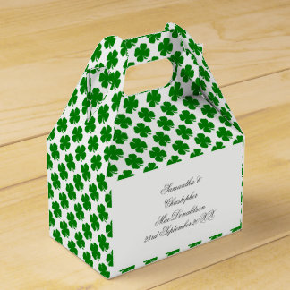 Green Irish shamrock pattern Party Favour Boxes