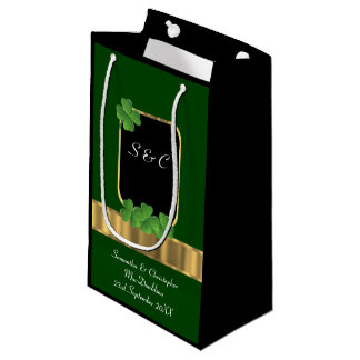 Green Irish shamrock personalised wedding Small Gift Bag