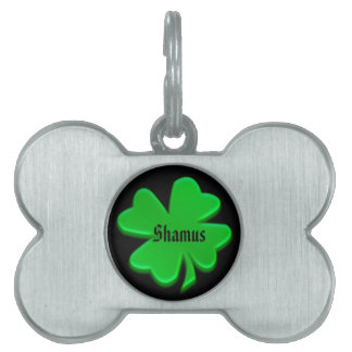 Green Irish Shamrock Pet Tag