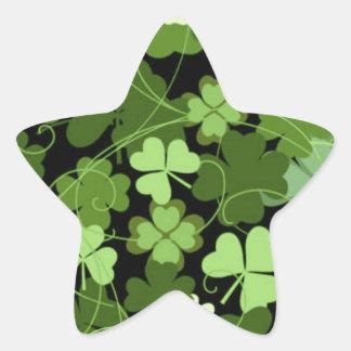Green Irish Shamrock Star Sticker
