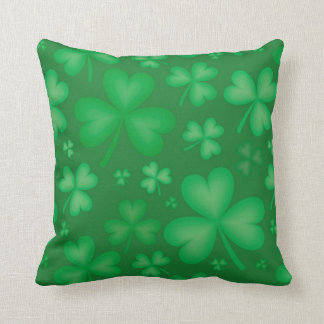 Green Irish Shamrock Throw Pillow