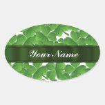 Green Irish shamrocks personalised Oval Stickers