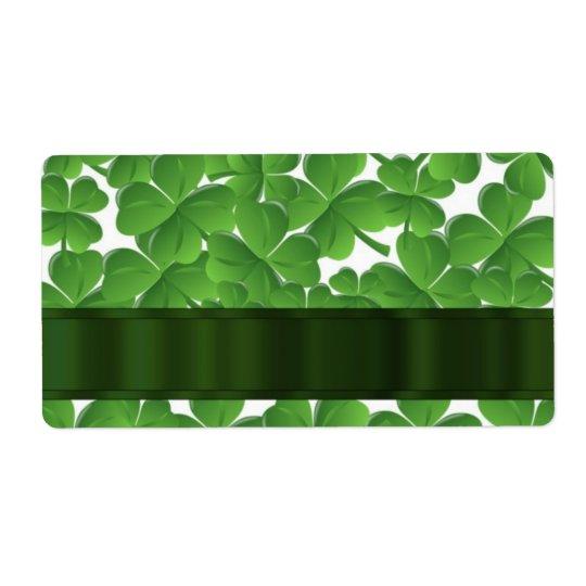 Green Irish shamrocks personalised Shipping Label