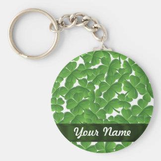 Green Irish shamrocks personalized Key Chain