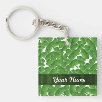 Green Irish shamrocks personalized Single-Sided Square Acrylic Key Ring
