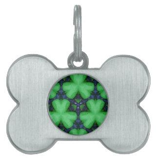 Green Irish Shamrocks Pet Name Tag