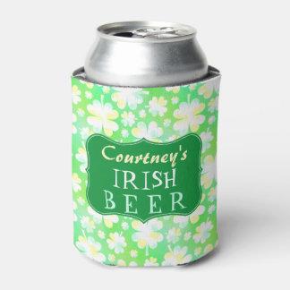 Green Irish Shamrocks St Patricks Watercolor Beer Can Cooler