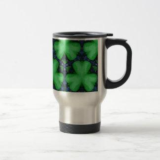 Green Irish Shamrocks Travel Mug