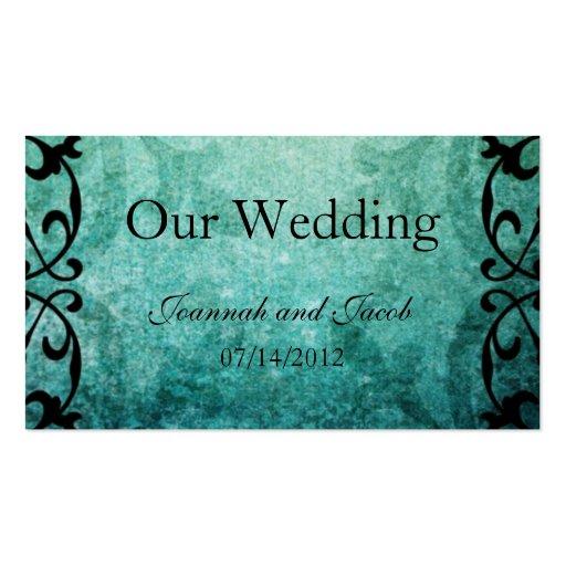 Green Ironwork Flourish Wedding Website Card Business Card