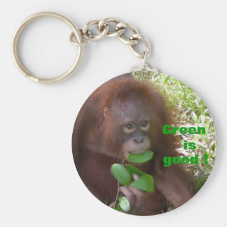 Green is Good Great Ape Fan Basic Round Button Key Ring