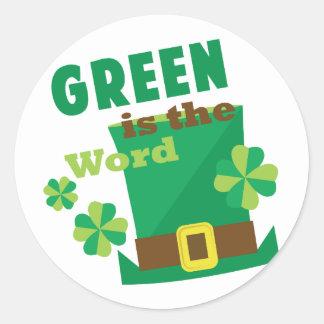 Green Is The Wofd Round Sticker