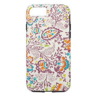 Green Ivory Plum Blue Teal Damask Floral Pattern iPhone 8/7 Case