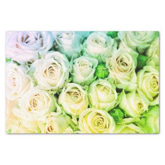 Green & Ivory Roses Tissue Paper
