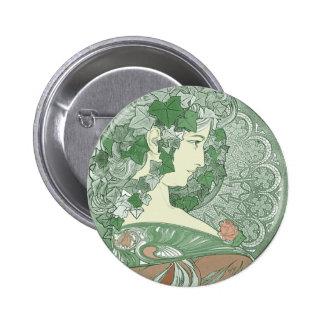 Green Ivy Goddess Button