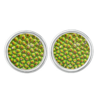 Green Jack Fruit Cufflinks Silver Plated