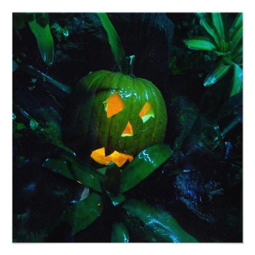 Green Jack O Lantern Halloween Square Invitation