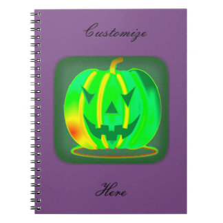Green Jack o'lantern Halloween Thunder_Cove Notebook