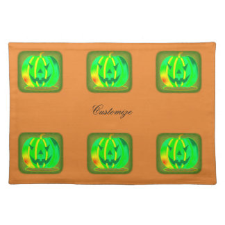 Green Jack o'lantern Halloween Thunder_Cove Placemat