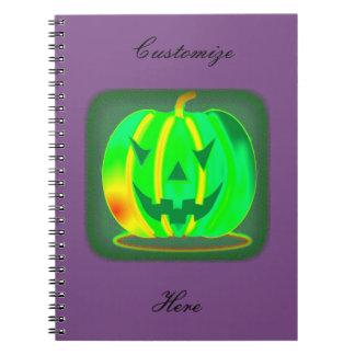 Green Jack o'lantern Halloween Thunder_Cove Spiral Notebook