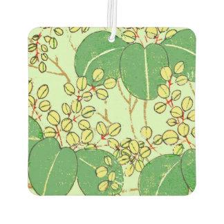 Green Japanese Art Print Design Minimal Car Air Freshener