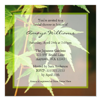 "Green Japanese Maple Leaves Bridal Shower 5.25"" Square Invitation Card"