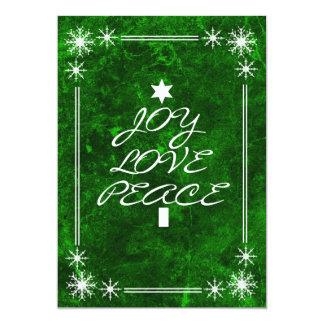 Green Joy Love Peace Christmas Party Invitation