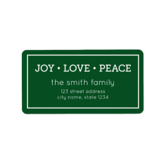 Green Joy Love Peace Modern Holiday Address Address Label