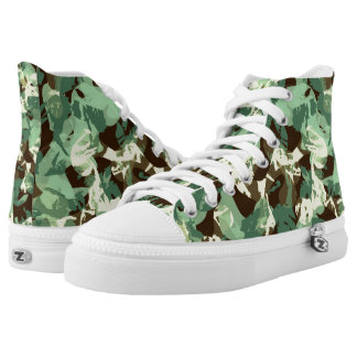 Green Jungle Camo Printed Shoes