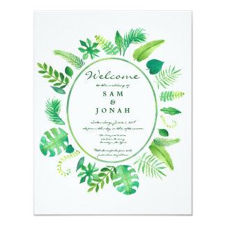 Green Jungle Leaf Wedding Invitation