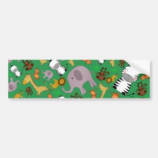 Green jungle safari animals bumper sticker