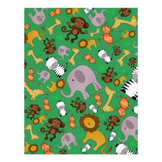 Green jungle safari animals flyer design