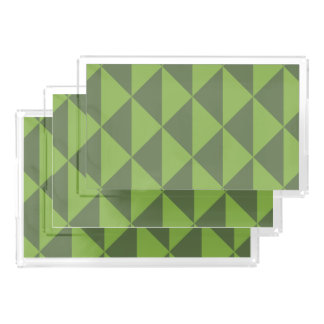 Green Kale Greenery Arrow Pattern Geometric Acrylic Tray