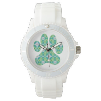 Green Kaleidoscope Infinity Paw Print Design Watch