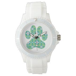 Green Kaleidoscope Infinity Paw Print Design Wristwatch