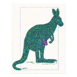 Green Kangaroo and Baby Postcard