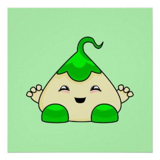 Green Kawaii Tickle Monster Posters