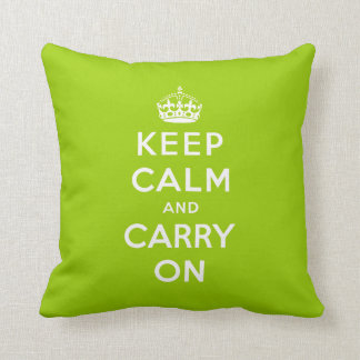 Green Keep Calm and Carry On American MoJo Pillow