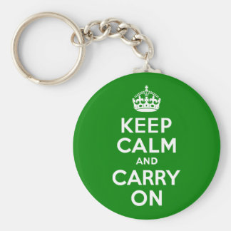 Green Keep Calm and Carry On Basic Round Button Key Ring