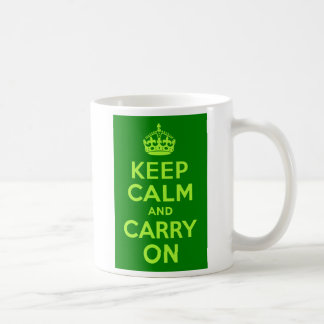 Green Keep Calm and Carry On Basic White Mug