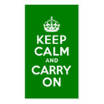 Green Keep Calm and Carry On Business Card Template
