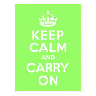 Green Keep Calm and Carry On Postcard