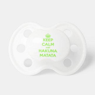 Green Keep Calm and Hakuna Matata Pacifier