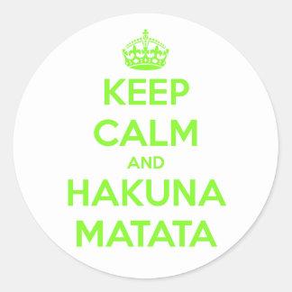 Green Keep Calm and Hakuna Matata Round Sticker