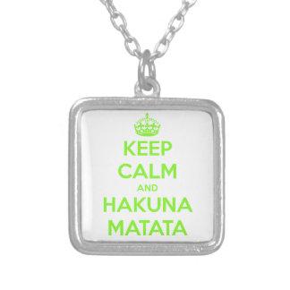 Green Keep Calm and Hakuna Matata Square Pendant Necklace
