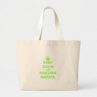 Green Keep Calm and Hakuna Matata Tote Bag