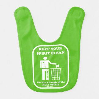 Green, Keep your spirit clean baby bib