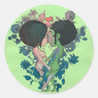 Green Kiss Classic Round Sticker