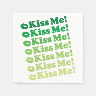 Green Kiss Me Kiss Me Pattern Disposable Napkins