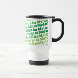 Green Kiss Me Kiss Me Pattern Travel Mug